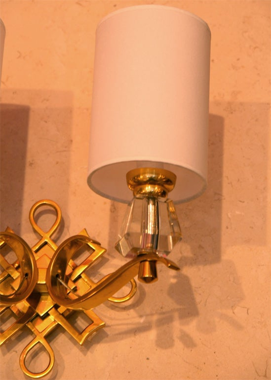 French Bronze and Crystal Sconces For Sale 1