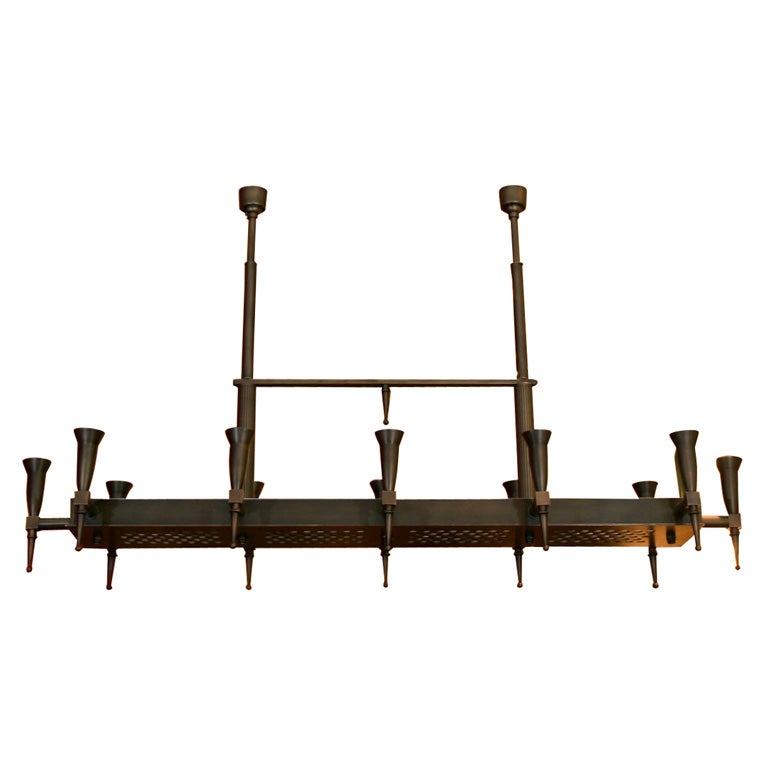 Large Bronze Ramp Chandelier by Bagues