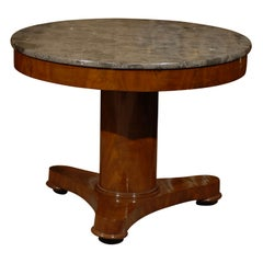 Directoire Mahogany Center Table with Fossilized Marble, c. 1810
