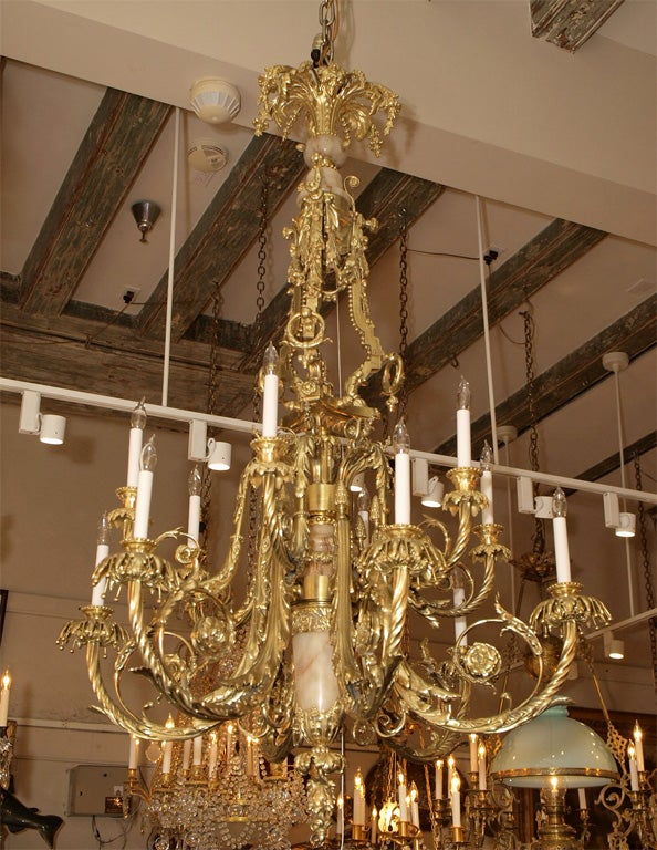 Antique Bronze Dore And Marble Chandelier 2 - Antique Bronze Dore And Marble Chandelier For Sale At 1stdibs
