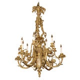 Antique Bronze Dore and Marble Chandelier