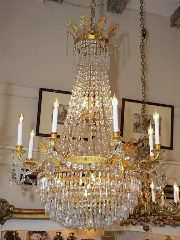 Antique Empire Ormulu Bronze And Baccarat Crystal Chandelier Circa 1880-1890s