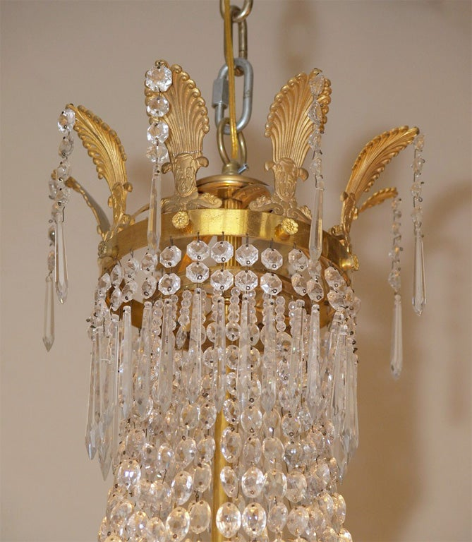 19th Century Antique French Empire Ormulu and Baccarat Crystal Chandelier For Sale