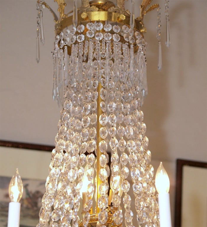 Antique French Empire Ormulu and Baccarat Crystal Chandelier For Sale 1