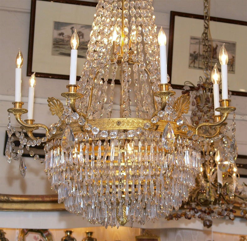 Antique French Empire Ormulu and Baccarat Crystal Chandelier For Sale 2