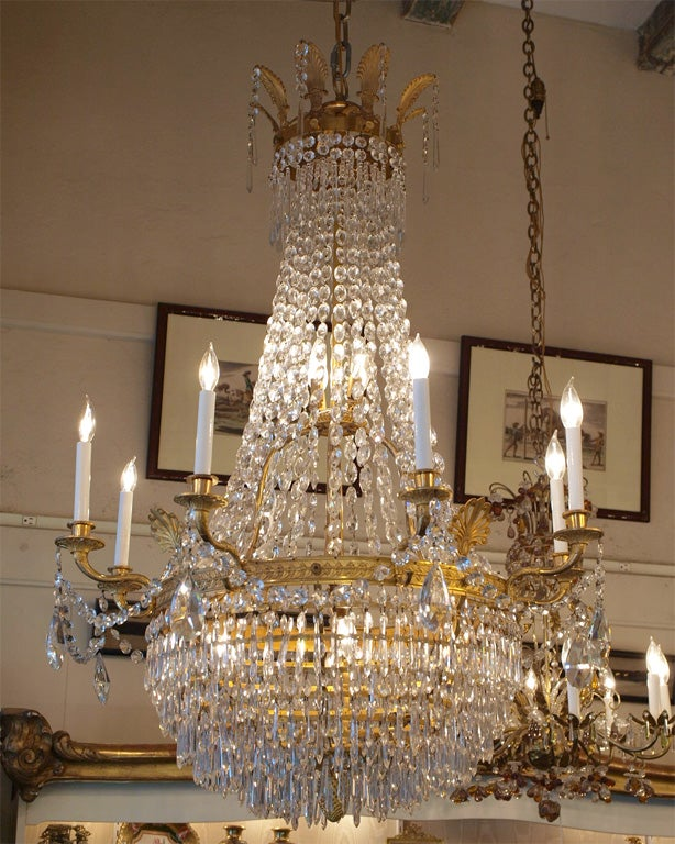 Antique French Empire Ormulu and Baccarat Crystal Chandelier For Sale 6