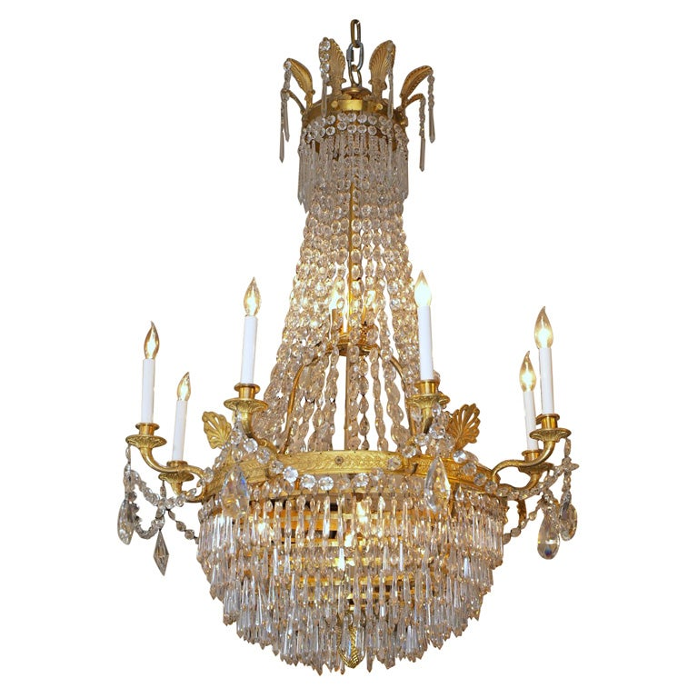 Antique French Empire Ormulu and Baccarat Crystal Chandelier For Sale