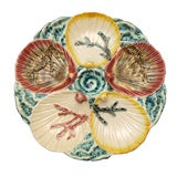 Antique English Majolica Oyster Plate Signed Wedgwood