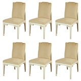 Set of Six Mid-Century Faux Parchment Dining Chairs