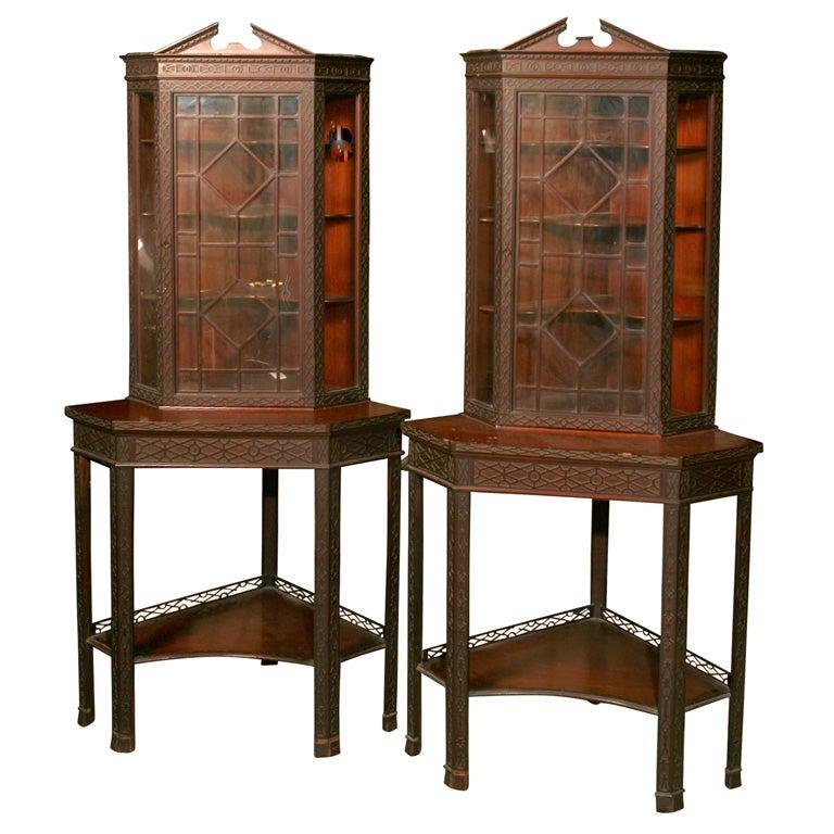 Pair of Corner Display Cabinets