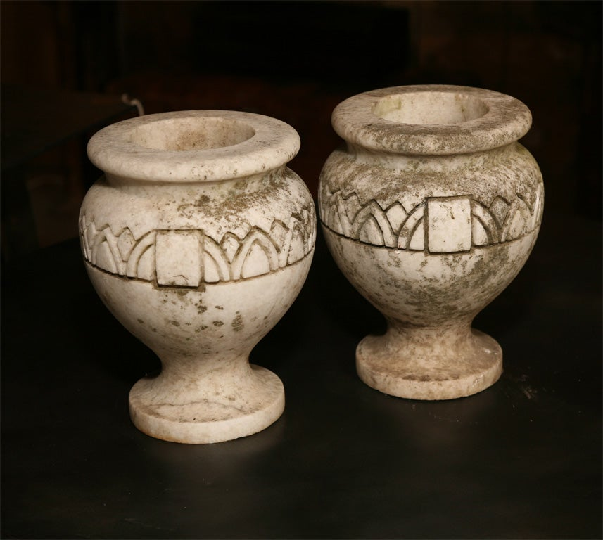 Pair of Ornamental Garden Urns Lovely size with good signs of age and patina