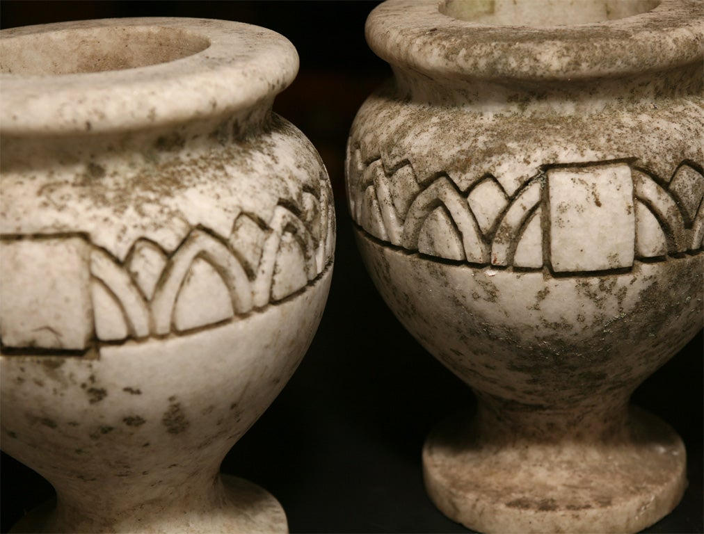 Carved Pair Stone Planters For Sale