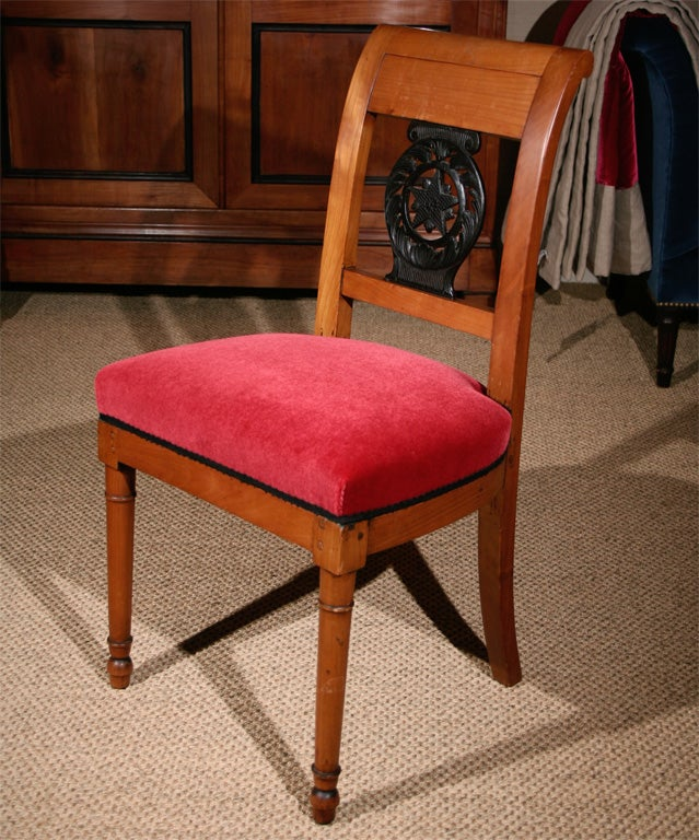 A Pair Of Empire Wild Cherry Wood Chairs With Ebonized Carved Star Shaped  Back Splats And