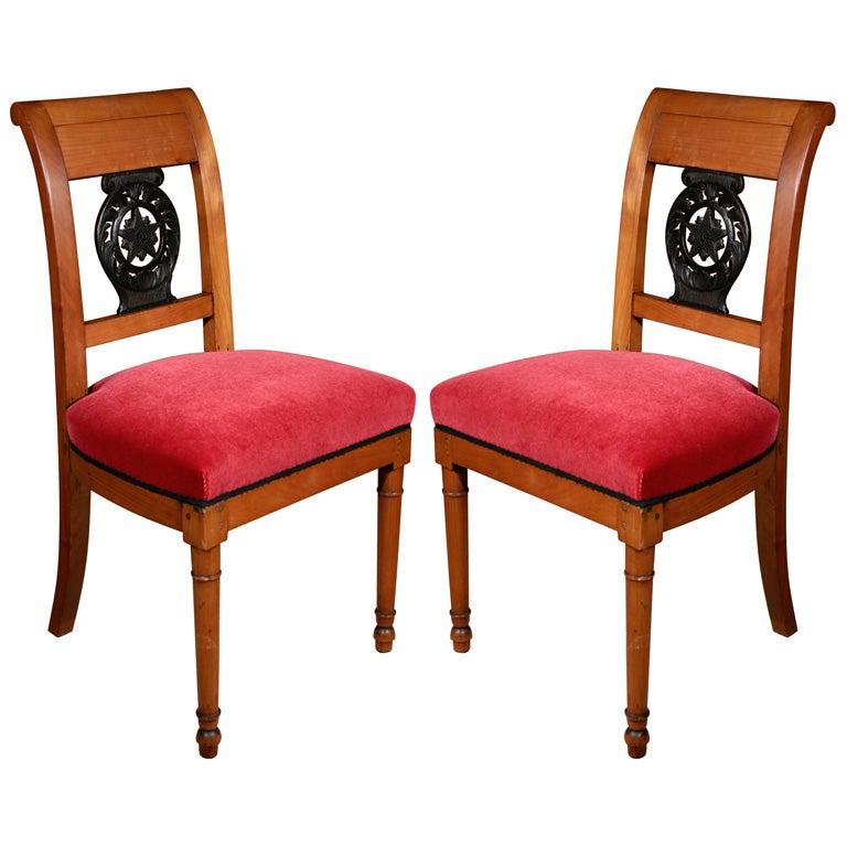 Ebonized Wood Furniture ~ A pair of empire cherry wood chairs with ebonized splat