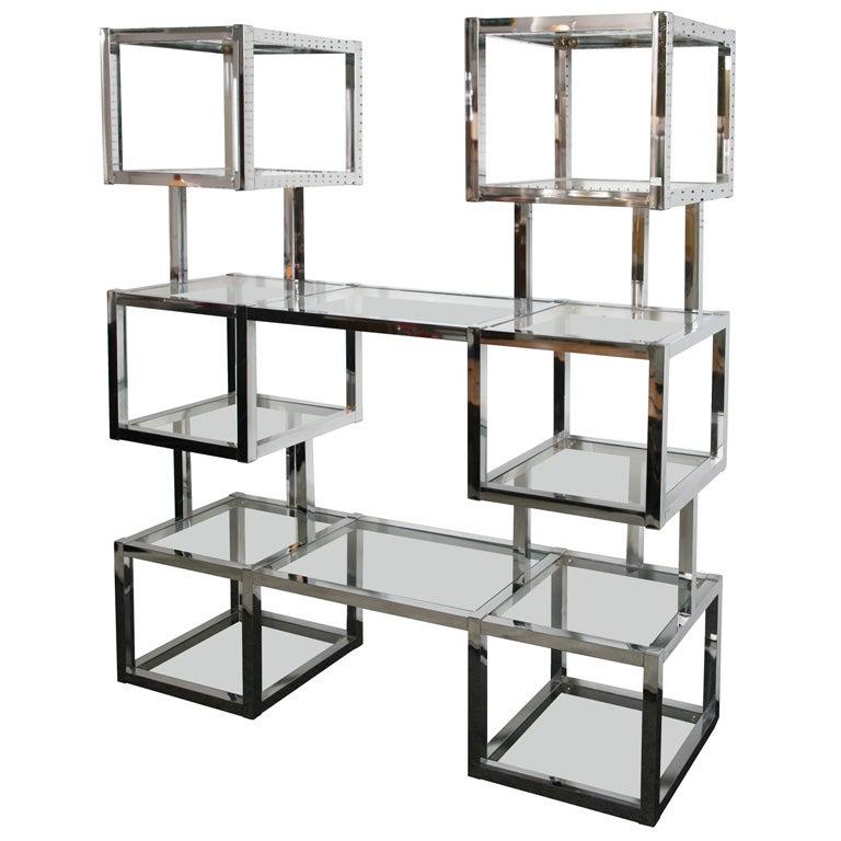 1970 39 s chromed cube designer etagere at 1stdibs - Etagere cube modulable ...
