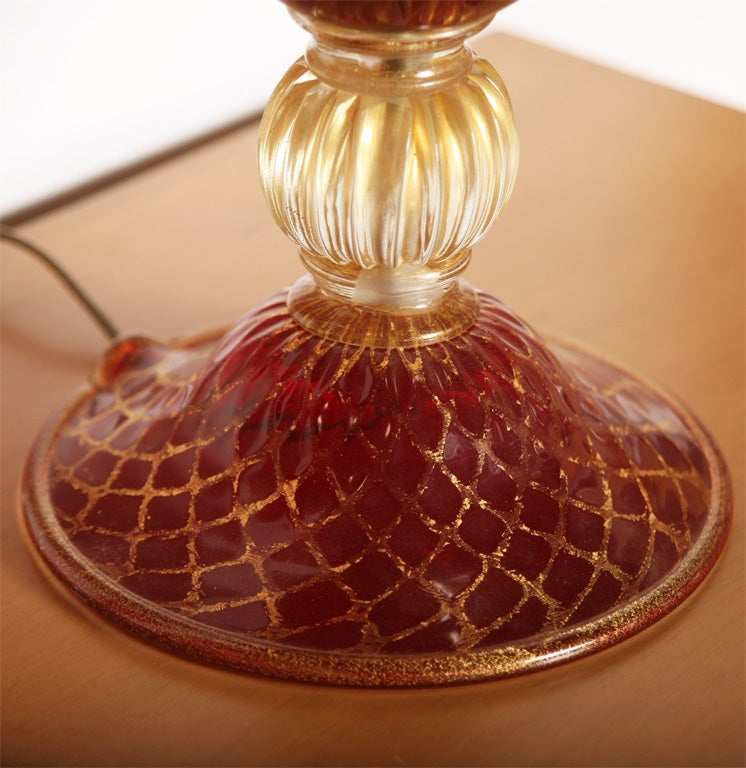 Italian Tall Ruby Red and Gold Leaf, Murano Glass Table Lamps, 1975s For Sale