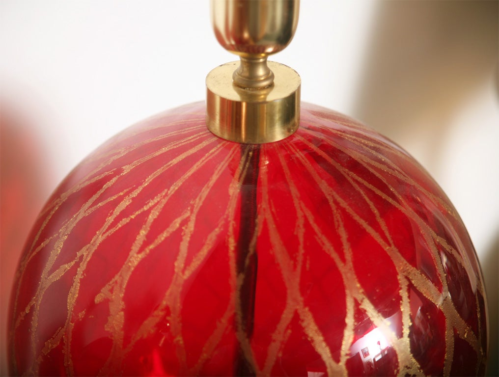 20th Century Tall Ruby Red and Gold Leaf, Murano Glass Table Lamps, 1975s For Sale