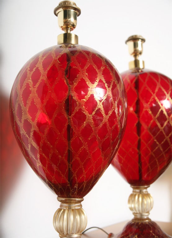 Tall Ruby Red and Gold Leaf, Murano Glass Table Lamps, 1975s For Sale 2