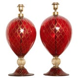 Tall Ruby Red and Gold Leaf, Murano Glass Table Lamps, 1975s
