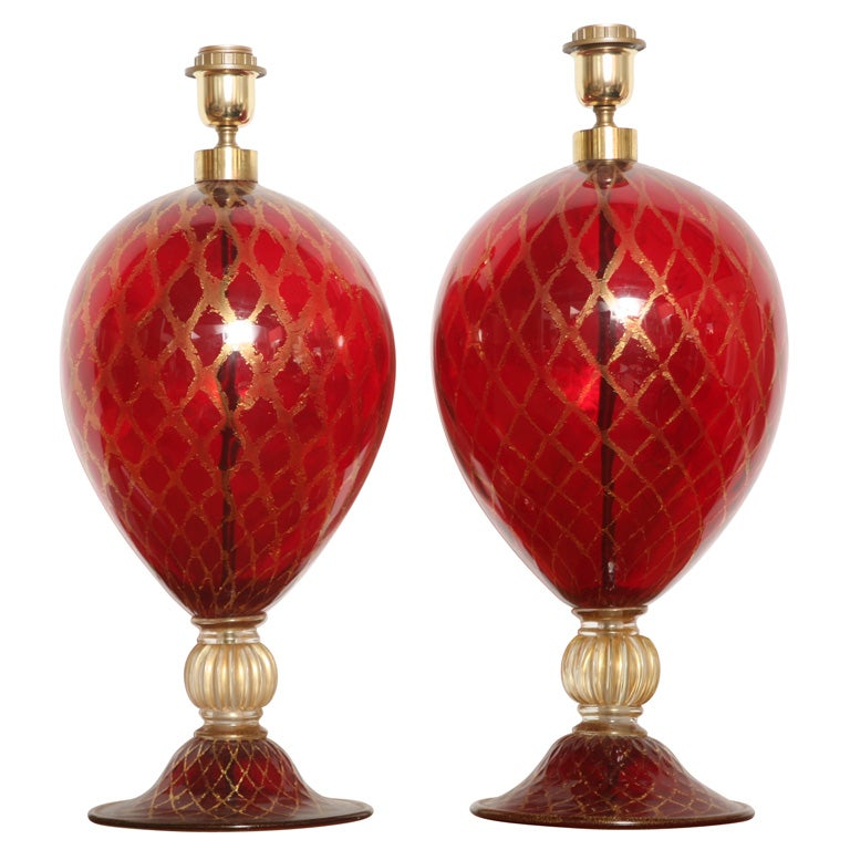 Tall Ruby Red and Gold Leaf, Murano Glass Table Lamps, 1975s For Sale