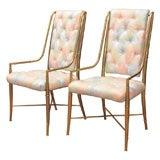 Set of Eight Mastercraft Brass Dining Chairs