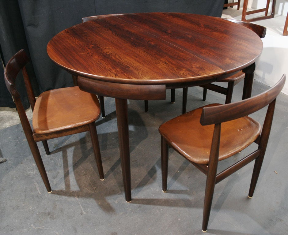Nesting Dining Tables ~ Rosewood dining table with nested chairs by hans olsen at