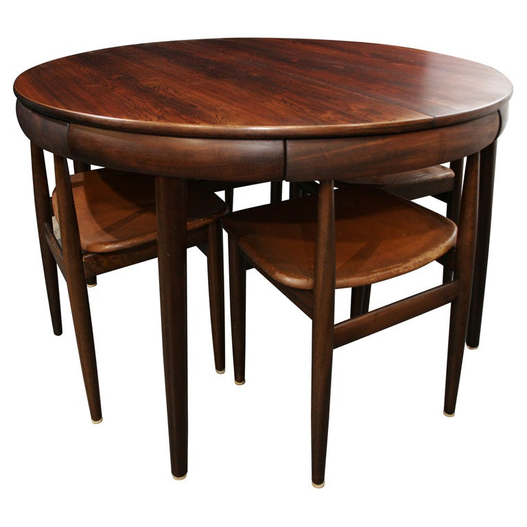 Rosewood Dining Table With Nested Chairs By Hans Olsen At