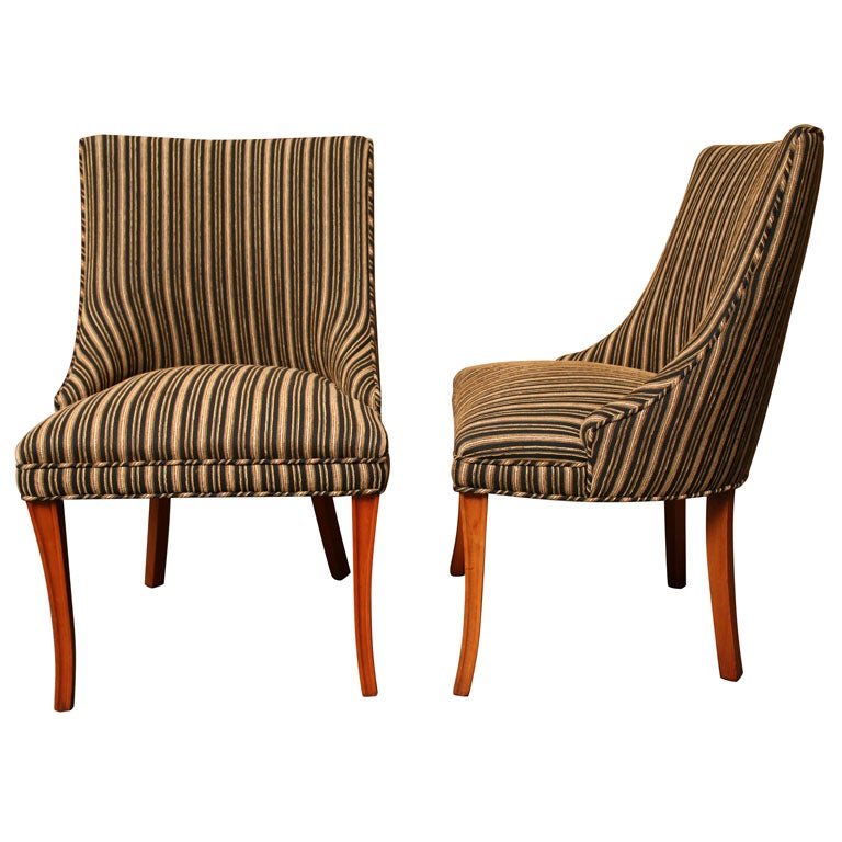 Sleek tailored 1940s slipper side chairs for sale at 1stdibs for Side chairs for sale