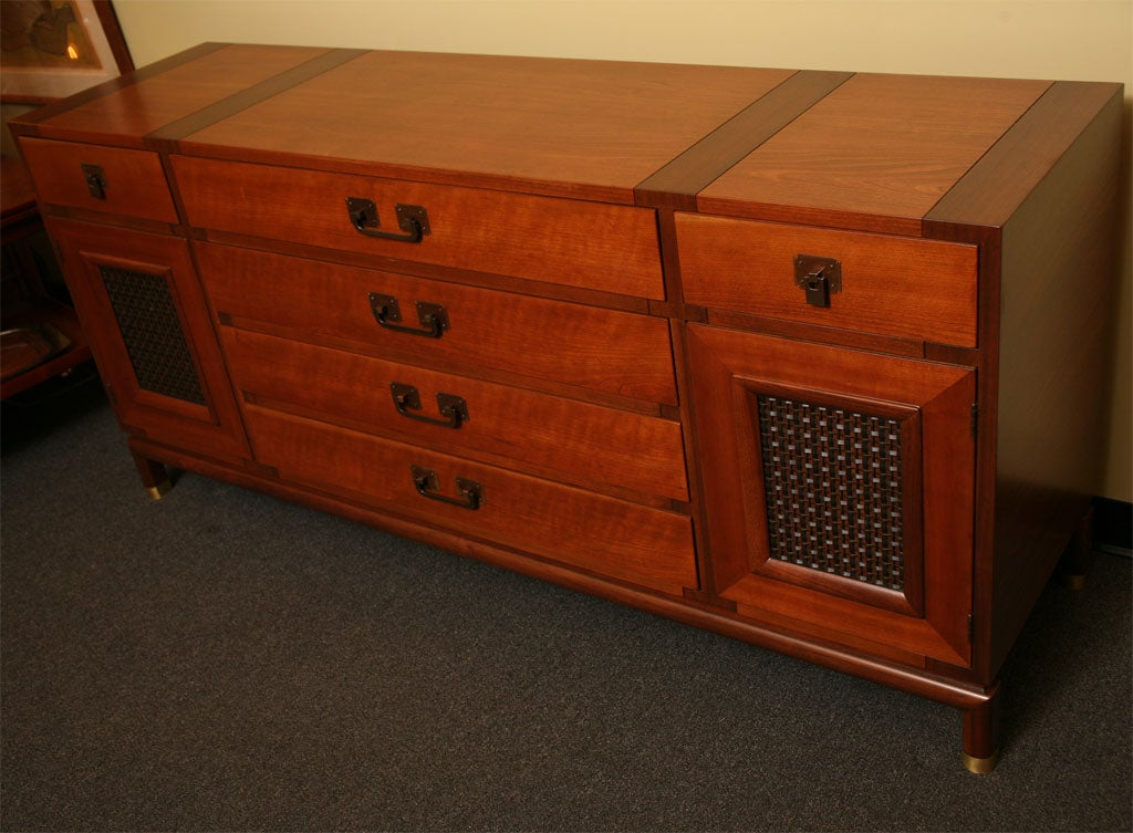 American Fine Bert England Walnut Sideboard for Johnson Furniture For Sale