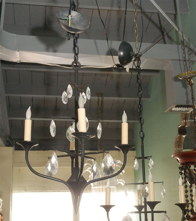 Pair of Mid-Century Erik Hoglund Iron Chandeliers 2