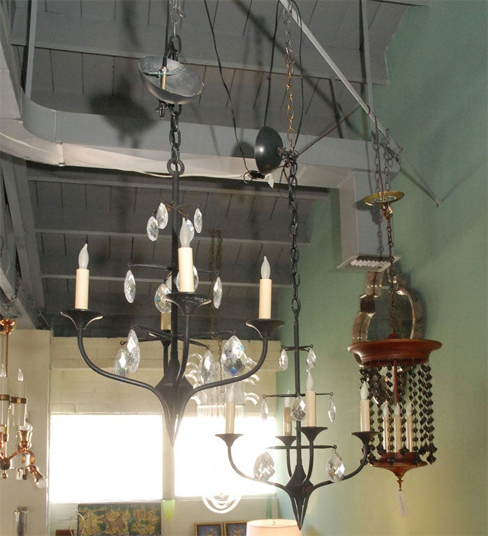 Pair of Mid-Century Erik Hoglund Iron Chandeliers 3
