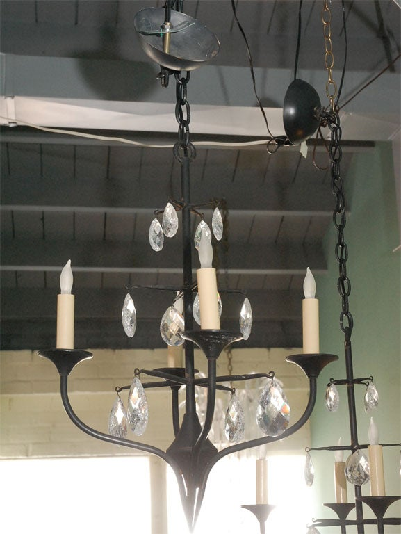Pair of Mid-Century Erik Hoglund Iron Chandeliers 4