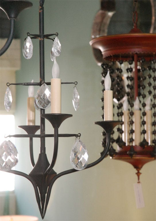 Pair of Mid-Century Erik Hoglund Iron Chandeliers 5