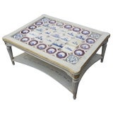Swedish Gustavian Style Two-Tiered Coffee Table with Delft Tiles