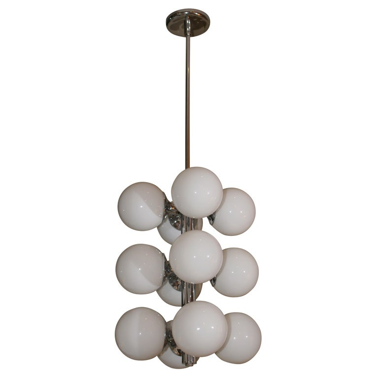 French White Globe Chrome Chandelier