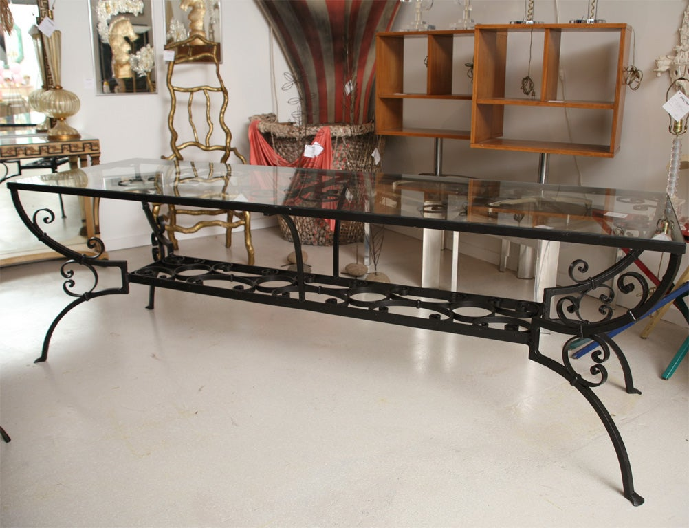 Wrought iron dining table with glass top at 1stdibs Glass furniture tops
