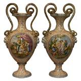 MONUMENTAL PAIR Italian Faience Vase