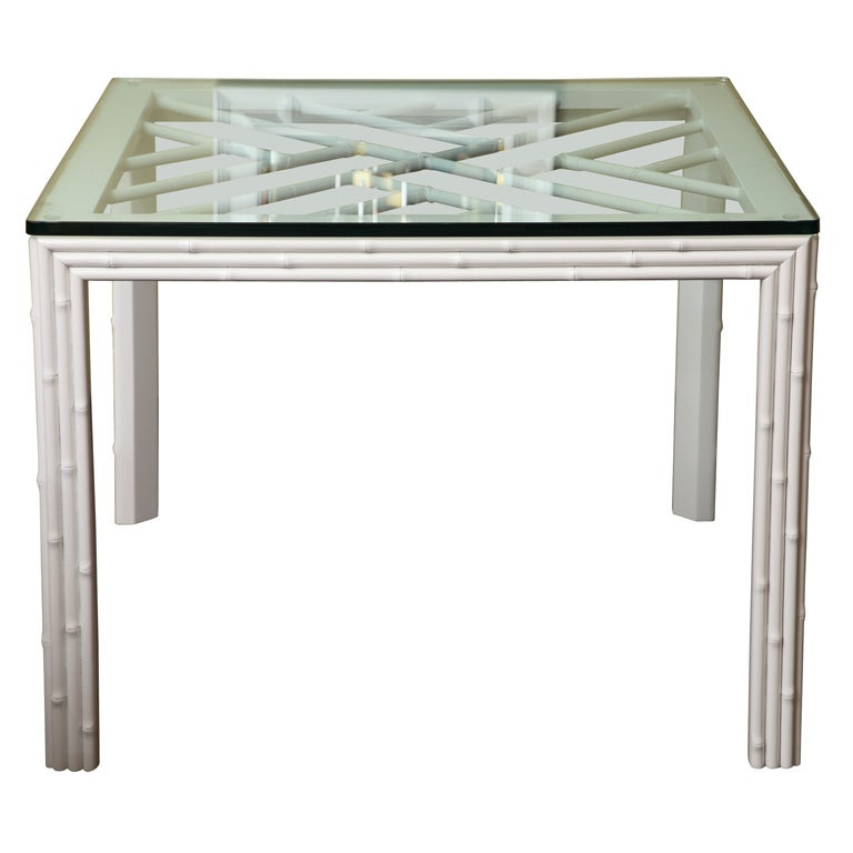 White lacquered faux cane breakfast dining table at 1stdibs for White lacquer dining table