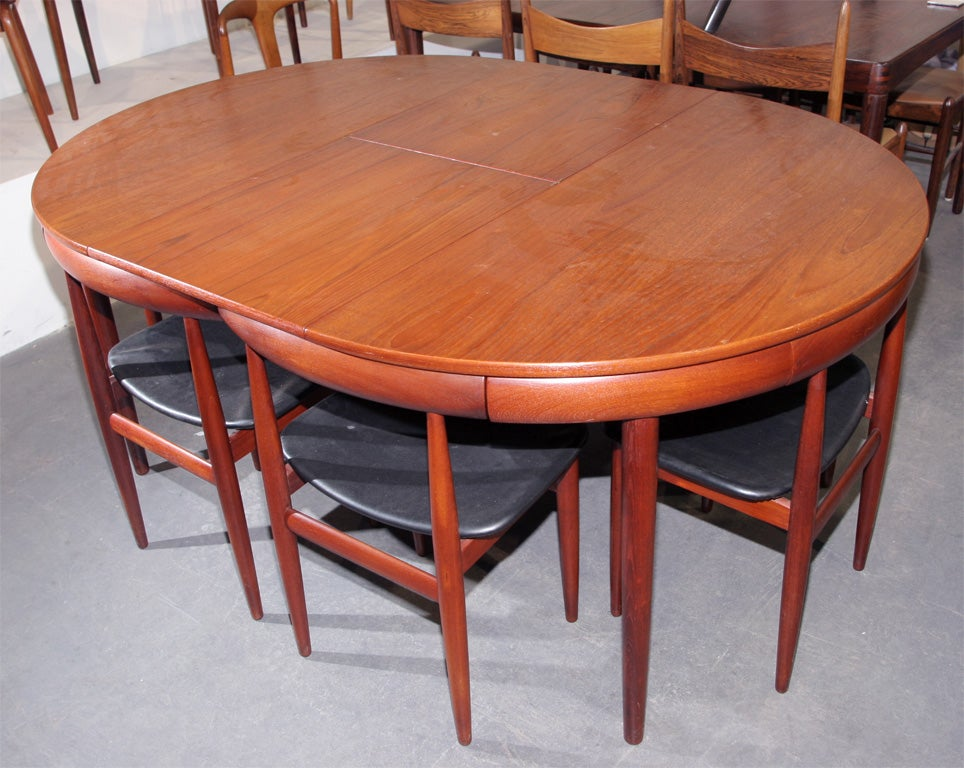 Teak Dining Table With Nested Chairs By Hans Olsen At 1stdibs