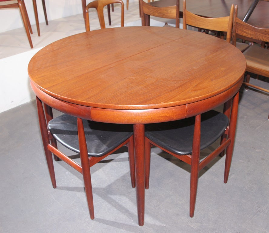 Nesting Dining Tables ~ Teak dining table with nested chairs by hans olsen at stdibs