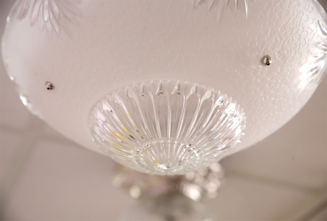 Deco Small Chandelier White Clear Cutchrystal Vintage, Restored 6