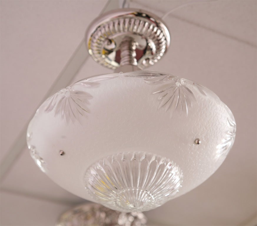 Deco Small Chandelier White Clear Cutchrystal Vintage, Restored 7