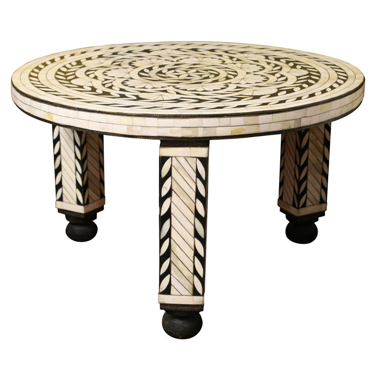artisan created unique bone inlaid coffeetable at 1stdibs. Black Bedroom Furniture Sets. Home Design Ideas