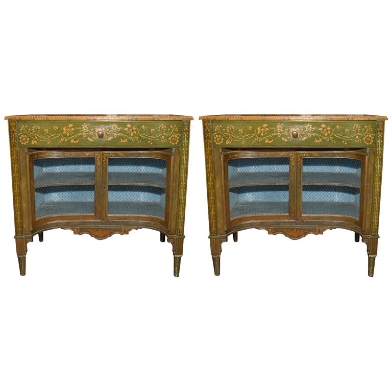 Pair of Italian Pained Cabinets two doors and one drawer