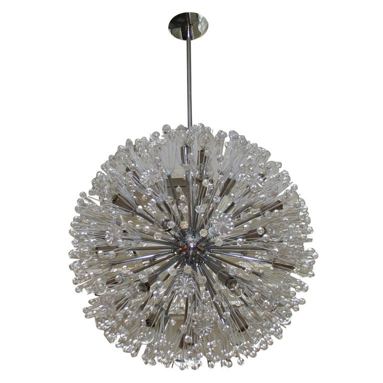 A Glass and Plastic Starburst Chandelier by Emil