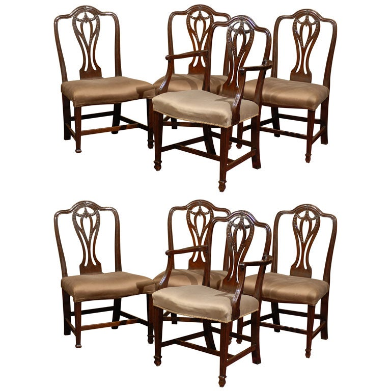 set of eight 18th c english mahogany carved dining chairs at 1stdibs