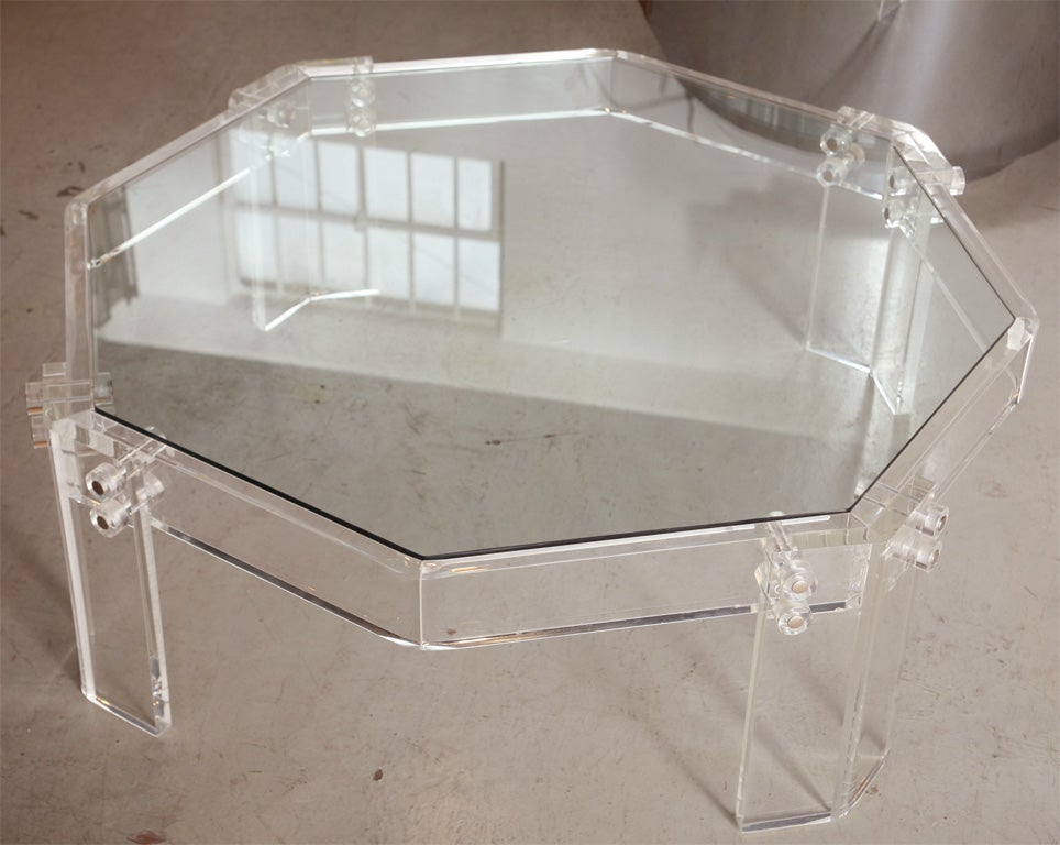Octagonal lucite coffee table w glass top at 1stdibs for Octagon glass top coffee table