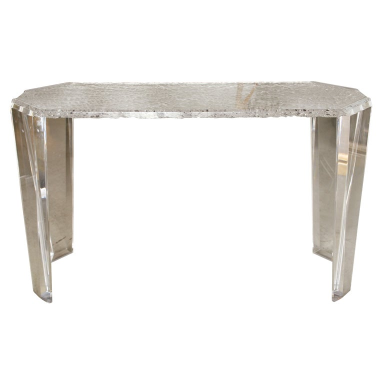 Chiseled Lucite Console Table At 1stdibs