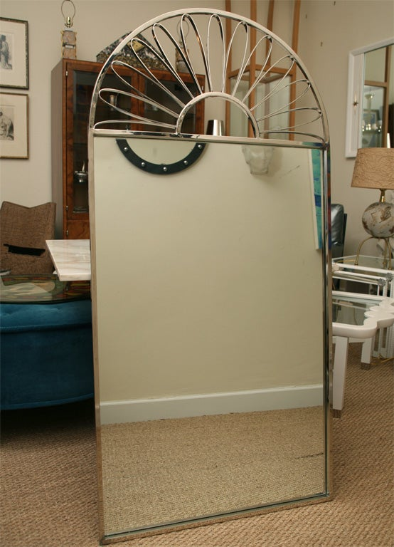 Mid-Century Modern Nickel Silver Mirror Vintage Italian For Sale