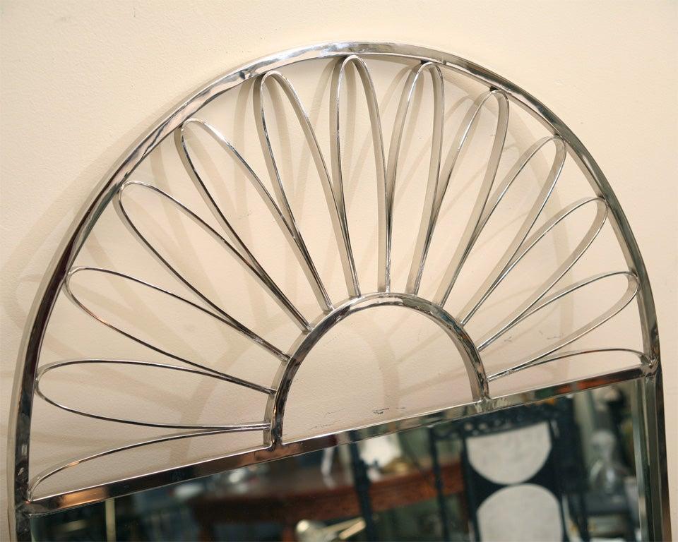 Nickel Silver Mirror Vintage Italian In Good Condition For Sale In North Miami, FL